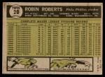 1961 Topps #20  Robin Roberts  Back Thumbnail