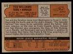 1972 Topps #510  Ted Williams  Back Thumbnail
