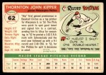 1955 Topps #62  Thornton Kipper  Back Thumbnail