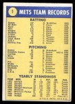 1970 Topps #1   World Champions - Mets Team Back Thumbnail