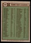 1976 Topps #194   -  Reggie Jackson / George  Scott / John Mayberry AL HR Leaders   Back Thumbnail