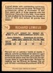 1976 O-Pee-Chee WHA #74  Richard Lemieux  Back Thumbnail