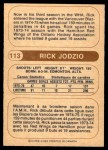 1976 O-Pee-Chee WHA #113  Rick Jodzio  Back Thumbnail