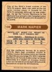 1976 O-Pee-Chee WHA #108  Mark Napier  Back Thumbnail