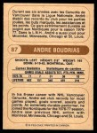 1976 O-Pee-Chee WHA #87  Andre Boudrias  Back Thumbnail