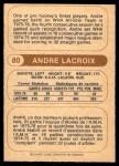 1976 O-Pee-Chee WHA #80  Andre Lacroix  Back Thumbnail