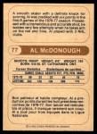 1976 O-Pee-Chee WHA #77  Al McDonough  Back Thumbnail