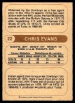 1976 O-Pee-Chee WHA #22  Chris Evans  Back Thumbnail