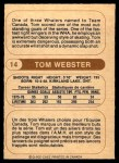1976 O-Pee-Chee WHA #14  Tom Webster  Back Thumbnail
