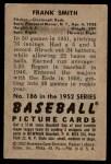 1952 Bowman #186  Frank Smith  Back Thumbnail