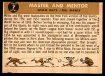 1960 Topps #7   -  Willie Mays / Bill Rigney Master & Mentor Back Thumbnail
