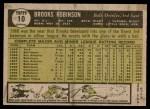 1961 Topps #10  Brooks Robinson  Back Thumbnail