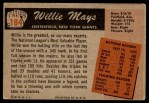 1955 Bowman #184  Willie Mays  Back Thumbnail