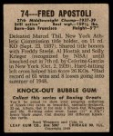 1948 Leaf #74  Fred Apostoli  Back Thumbnail