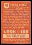 1952 Topps Look 'N See #91  Enrico Caruso  Back Thumbnail