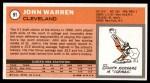 1970 Topps #91  John Warren   Back Thumbnail