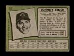 1971 Topps #250  Johnny Bench  Back Thumbnail