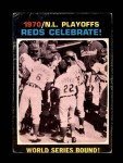 1971 Topps #202  Woody Woodard / Angel Bravo / Bob Tolan 1970 NL Playoffs - Summary - Reds Celebrate Front Thumbnail