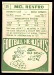 1968 Topps #129  Mel Renfro  Back Thumbnail