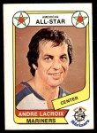 1976 O-Pee-Chee WHA #70   -  Andre Lacroix All-Star Front Thumbnail