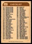 1976 O-Pee-Chee WHA #117   Checklist Back Thumbnail