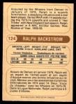 1976 O-Pee-Chee WHA #124  Ralph Backstrom  Back Thumbnail