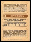 1976 O-Pee-Chee WHA #83  Dave Inkpen  Back Thumbnail