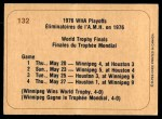 1976 O-Pee-Chee WHA #132   World Trophy Final Back Thumbnail