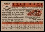 1956 Topps #29  Kyle Rote  Back Thumbnail