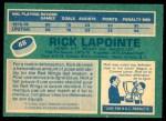 1976 O-Pee-Chee NHL #48  Rick Lapointe  Back Thumbnail