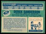 1976 O-Pee-Chee NHL #20  Derek Sanderson  Back Thumbnail