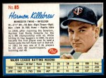 1962 Post Cereal #85  Harmon Killebrew   Front Thumbnail