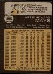1973 Topps #305  Willie Mays  Back Thumbnail