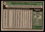 1979 Topps #650  Pete Rose  Back Thumbnail