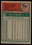 1975 Topps #450  Willie McCovey  Back Thumbnail