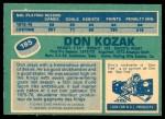 1976 O-Pee-Chee NHL #185  Don Kozak  Back Thumbnail