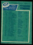 1976 O-Pee-Chee NHL #145   Penguins Team Back Thumbnail