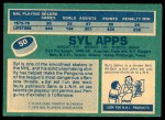 1976 O-Pee-Chee NHL #50  Syl Apps  Back Thumbnail