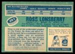 1976 O-Pee-Chee NHL #201  Ross Lonsberry  Back Thumbnail