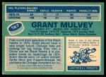 1976 O-Pee-Chee NHL #167  Grant Mulvey  Back Thumbnail