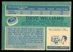 1976 O-Pee-Chee NHL #373  Dave Williams  Back Thumbnail