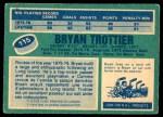 1976 O-Pee-Chee NHL #115  Bryan Trottier  Back Thumbnail