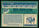 1976 O-Pee-Chee NHL #127  Rick Middleton  Back Thumbnail