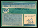 1976 O-Pee-Chee NHL #290  Gene Carr  Back Thumbnail