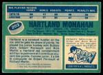 1976 O-Pee-Chee NHL #203  Hartland Monahan  Back Thumbnail