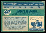 1976 O-Pee-Chee NHL #185  Don Kozak  Back Thumbnail