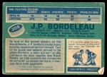1976 O-Pee-Chee NHL #208  J.P. Bordeleau  Back Thumbnail