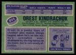 1976 Topps #233  Orest Kindrachuk  Back Thumbnail