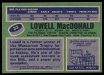 1976 Topps #33  Lowell MacDonald  Back Thumbnail