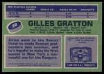 1976 Topps #28  Gilles Gratton  Back Thumbnail